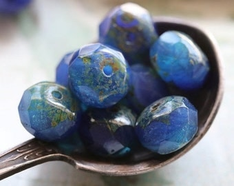 AZUL .. 10 Premium Czech Picasso Rondelle Glass Beads 6x8-9mm (5125-10)