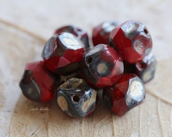 VAMP NUGGETS .. 10 Czech Picasso Glass Central Cut Beads 8mm (5188-10)