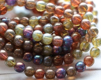 MYSTIC MARBLE MIX 6mm .. 30 Picasso Czech Druk Glass Beads (4837-st)