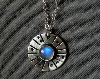 Dainty rainbow moonstone necklace / moonstone pendant / textured silver and rainbow moonstone / silver jewelry / rainbow moonstone jewelry