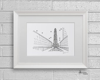 Sketch Series - Rockefeller Center, New York City - Art Print (5 x 7)