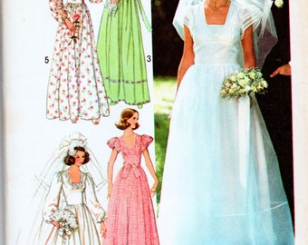 Vintage Simplicity 7886 Misses Wedding Bridal Gown and Brides Maids Dresses Sewing Pattern Size 16 Bust 38