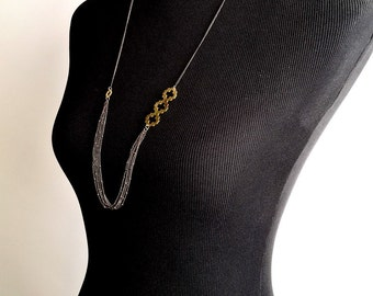 brass geometric necklace- Sophisticated necklace -  extra long necklace -  golden brass - quatrefoil station