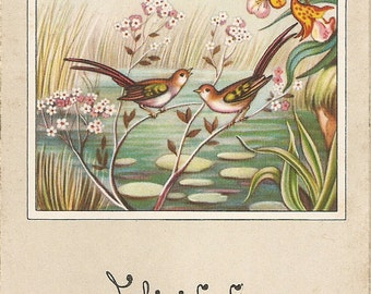 Birds postcard Landscape with birds and flowers, Spanish Greetings post card, vintage postcard, SharonFosterVintage