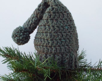 Stocking Hat Tree Topper, Crochet Christmas Decoration, Meadow Green Christmas Tree Topper, Holiday Decor