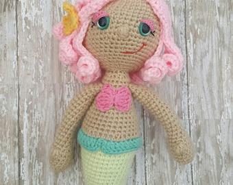 Pink Mermaid Crochet Doll