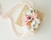 Rose Headband, Newborn TieBack, Flower Headband, Flower TieBack, Tie Back Headband Newborn Photo prop