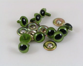 12mm Toy Cat Safety eyes, Green cat eyes with washers available in packs of 10, 50 or 100 eyes and washers