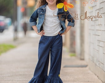 Girl's Ruffled Jean in Lightweight Denim with Single or Double Ruffle