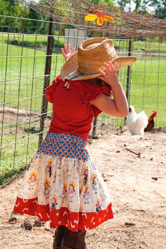 Girls Skirt - Girls Farm Animal Skirt - Girls Western Twirl Skirt- Farm Girl Skirt- Farm Skirt- Farm Animal Skirt