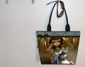 Large tote bag Jasmine Becket-Griffith Egyptian Girl bag, Cute cat, book bag, gym tote, large bag, Sanura, diaper tote