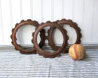 3 Vintage rusty gears cast iron metal gear ring seed plate Steampunk Industrial Farmhouse G1