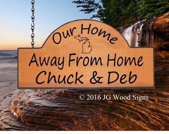 Custom Family Name Sign - Rustic State Outline  - Home Away From Home - Custom Carved Redwood Wooden Camp Sign