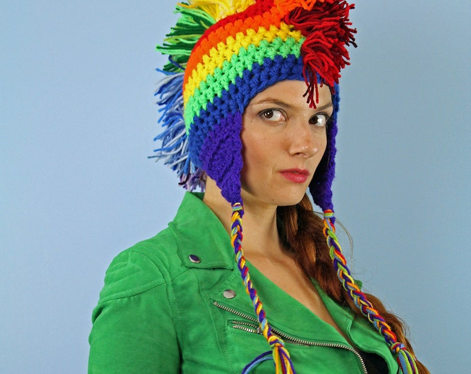 Rainbow Mohawk Ear Flap Beanie Hat Winter Gift For Kids Teens and Adults