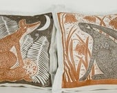 set of 2, hand printed, decorative pillow, cushion cover, Fox, Hare, pearl grey, chocolate brown, orange  home interior, linocut, bluebells