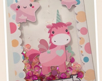 Unicorn Shaker Giftcard Holder, Money Holder, Shaker Card, Birthday, Congratulations