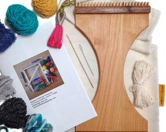 Handheld Traveler's Weaving Loom Kit | Small Beginner Tapestry DIY Travel Loom | Learn to Weave Wall Hanging | Portable Tapestry Weaver Tool