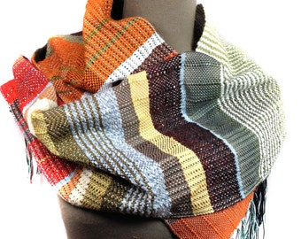 Andrew | Handwoven Pumpkin, Bright Red & Olive Scarf | Woven Autumn Fashion | Unisex Striped Textile | Striped Men's Gift | Weaving Loom