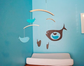 wooden fish mobile etsy. Black Bedroom Furniture Sets. Home Design Ideas