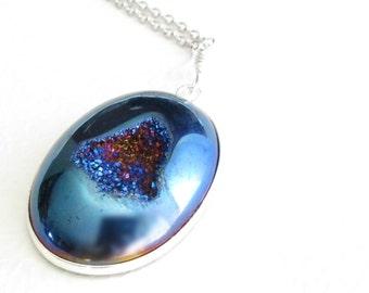 Cobalt Blue Druzy Pendant, Metallic Titanium Necklace, Geode Jewelry