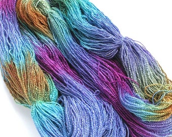 Hand Dyed Rayon Yarn Boucle Yarn 540 yards - Summer Sky