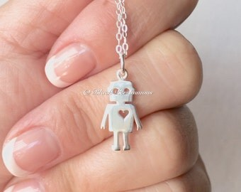 Robot with Heart Necklace - Solid 925 Sterling Silver Charm Pendant - Insurance Included