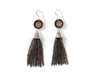 Pink City Druzy Tassel Earrings