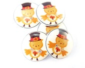 """5 Fall Buttons. Thanksgiving Owl Handmade buttons. 3/4"""" or 20 mm resin sewing buttons."""