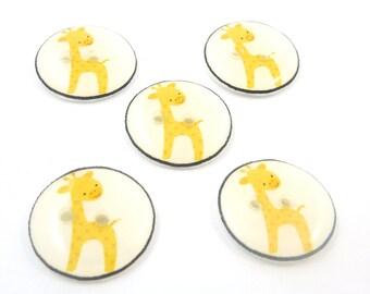 """5 Yellow Giraffe Buttons.  Handmade Buttons.  Sewing Buttons. 3/4"""" or 20 mm."""