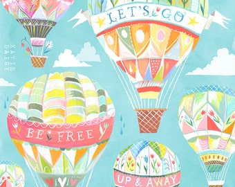 Up and Away Art Print | Hot Air Balloons | Katie Daisy Wall Art | 8x10 | 11x14