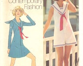 Simplicity 9982 1970s Junior Petite Mod Mini Middy Sailor Dress Jumpsuit Pattern Womens Vintage Sewing Pattern Size 9 Bust 33 UNCUT