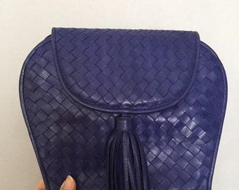 Vintage Navy Bag Purse Crossbody Woven Leather Tassel