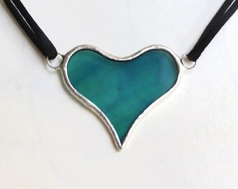 Heart Necklace or Choker, Stained Glass, handmade jewelry