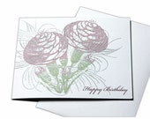 Happy Birthday Blank Letterpress Card with Flowers