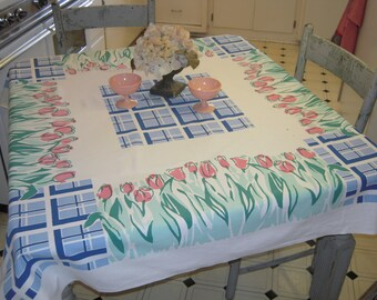 Vintage Fiatelle Tablecloth Garden of Pink Tulips