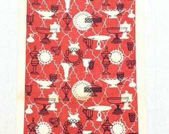 Vintage Towel Mid Century Red & White Milk Glass