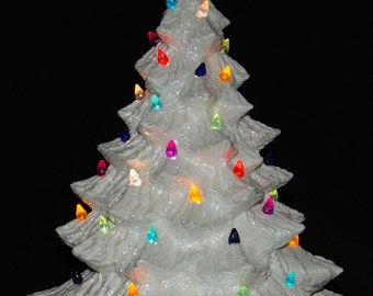 Mother Of Pearl Silver Bells Ceramic Christmas Tree 16 in w/ Music Box
