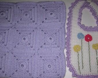 Lavendar Purple Baby Bib Blanket Set Hand Crocheted Embroidered New Free Shipping