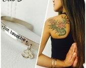 Just Breathe, Message cuff bracelet, mantra, inspirational message bracelet, om, yoga, charm bangle, Sterling silver, Otis b, yogi gift