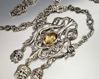 Victorian Peruzzi Necklace, Citrine Necklace, Silver Phoenix Necklace, Italian Antique Jewelry, Gothic Bacchus Greek Mythology Cini Coppini