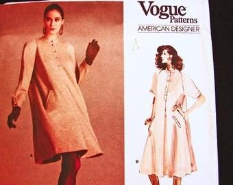 1980s Tent Dress Vogue American Designer Pattern Geoffrey Beene Misses size 8 10 12 UNCUT Womens Tent Dress Pattern