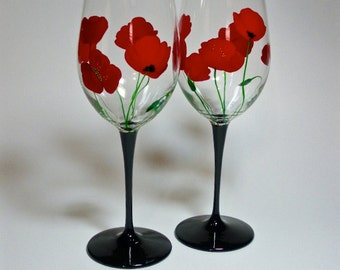 Red Poppies Hand Painted Wine Glasses