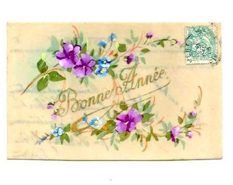 Vintage -HANDPAINTED FLOWERS on CELLULOID Postcard - Early French Watercolour fresh colorful postcard - Holiday 's greetings - Free Shipping