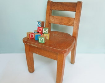 Vintage Oak Wooden Child's Chair, Classroom School Style, 1950s, Extra Small & Sturdy