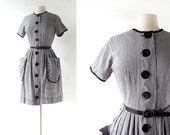 Vintage 1950s Dress / Gingham Dress / 50s Dress / XS S