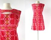 Vintage Thai Dress / 1960s Dress / Cut Out Dress / Pink Dress / M L