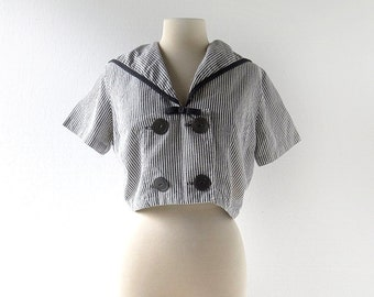 Vintage Sailor Blouse / 50s Crop Top / 1950s Blouse / M L