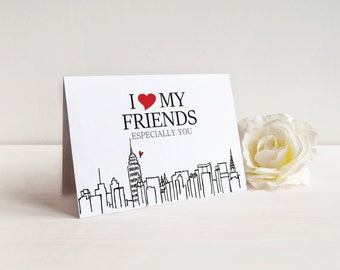 I Heart My Friends  NYC thank you card for any occasion - custom message inside! - personalized thank you cards - new york city!