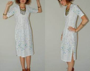 Summer Sari Dress Vintage White Summer Floral Hippie Draped Ethnic India Sari Dress (s)