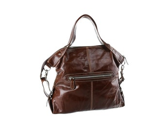 SALE - Brown leather shoulder bag, handbag, leather diaper bag, artoncrafts